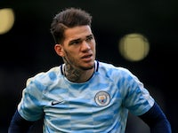 Manchester City keeper Ederson in action on October 28, 2017