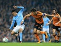 Gabriel Jesus and Danny Batth in action during the EFL Cup game between Manchester City and Wolverhampton Wanderers on October 24, 2017