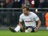 Harry Kane goes down injured during the Premier League game between Tottenham Hotspur and Liverpool on October 22, 2017