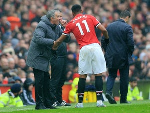 Jose Mourinho gives instructions to Anthony Martial during the Premier League game between Manchester United and Tottenham Hotspur on October 28, 2017