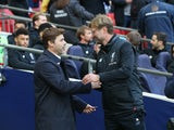 Jurgen Klopp and Mauricio Pochettino during the Premier League game between Tottenham Hotspur and Liverpool on October 22, 2017