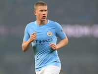 Kevin De Bruyne in action for Manchester City on October 24, 2017