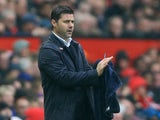 Mauricio Pochettino gives instructions during the Premier League game between Manchester United and Tottenham Hotspur on October 28, 2017