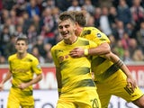 Maximilian Philipp celebrates scoring for Borussia Dortmund on October 21, 2017