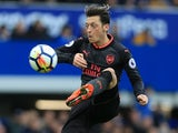 Mesut Ozil in action during the Premier League game between Everton and Arsenal on October 22, 2017