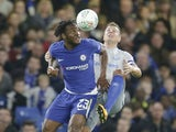 Michy Batshuayi and Phil Jagielka in action during the EFL Cup game between Chelsea and Everton on October 25, 2017