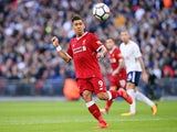 Roberto Firmino in action during the Premier League game between Tottenham Hotspur and Liverpool on October 22, 2017