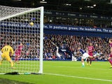 Salomon Rondon heads over the crossbar during the Premier League game between West Bromwich Albion and Manchester City on October 28, 2017