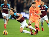Alberto Moreno tackles Mark Noble during the Premier League game between West Ham United and Liverpool on November 4, 2017