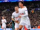 Dele Alli celebrates scoring during the Champions League group game between Tottenham Hotspur and Real Madrid on November 1, 2017