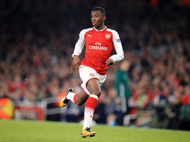 Eddie Nketiah in action during the Europa League group game between Arsenal and Red Star Belgrade on November 2, 2017