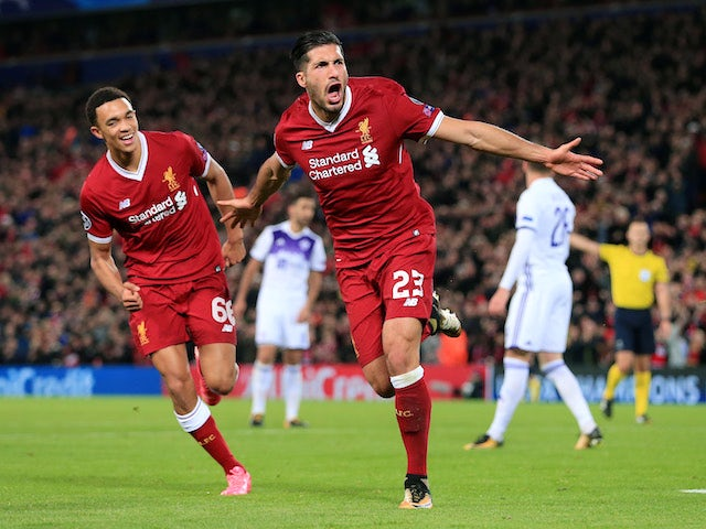 Emre Can celebrates scoring the second during the Champions League group game between Liverpool and Maribor on November 1, 2017