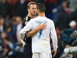 Harry Kane and Cristiano Ronaldo greet each other on October 17, 2017