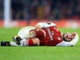Jack Wilshere goes down injured during the Europa League group game between Arsenal and Red Star Belgrade on November 2, 2017