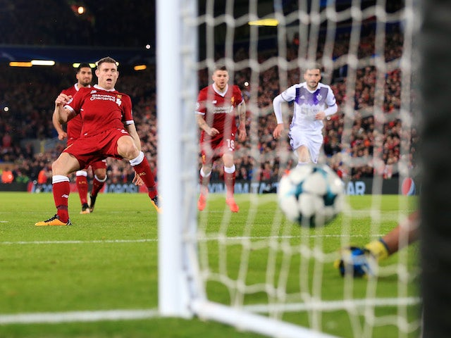 James Milner has a penalty saved during the Champions League group game between Liverpool and Maribor on November 1, 2017