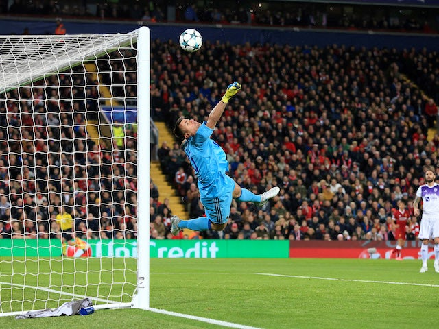 Jasmin Handanovic makes a save during the Champions League group game between Liverpool and Maribor on November 1, 2017