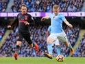 Kevin De Bruyne scores the opener during the Premier League game between Manchester City and Arsenal on November 5, 2017