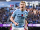Kevin De Bruyne celebrates opening the scoring during the Premier League game between Manchester City and Arsenal on November 5, 2017