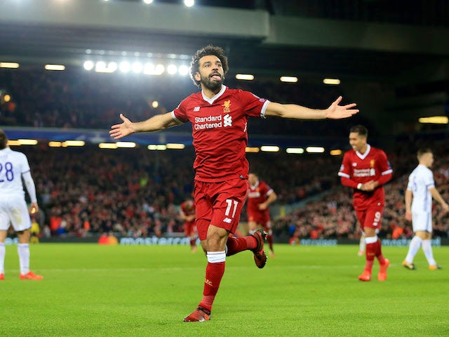 Mohamed Salah celebrates scoring during the Champions League group game between Liverpool and Maribor on November 1, 2017