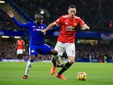 N'Golo Kante and Nemanja Matic in action during the Premier League game between Chelsea and Manchester United on November 5, 2017