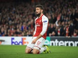 Olivier Giroud on his knees during the Europa League group game between Arsenal and Red Star Belgrade on November 2, 2017