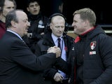 Newcastle manager Rafael Benitez meets Bournemouth boss Eddie Howe prior to their Premier League clash at St James' Park on November 4, 2017