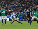 Rajiv van la Parra scores the opening goal during Huddersfield Town's Premier League clash with West Bromwich Albion on November 4, 2017