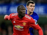 Romelu Lukaku and Andreas Christensen in action during the Premier League game between Chelsea and Manchester United on November 5, 2017