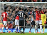 Romelu Lukaku walks away in the buildup to United's second penalty during the Champions League group game between Manchester United and Benfica on October 31, 2017