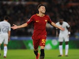 Stephan El Shaarawy celebrates scoring during the Champions League group game between Roma and Chelsea on October 31, 2017