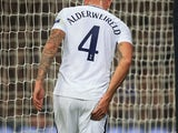 Toby Alderweireld holds his buttock as he goes off injured during the Champions League group game between Tottenham Hotspur and Real Madrid on November 1, 2017