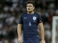 Harry Maguire in action during the international friendly between England and Germany on November 10, 2017
