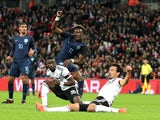 England striker Tammy Abraham sees a shot blocked during his side's friendly with Germany at Wembley on November 10, 2017