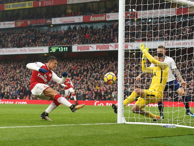 Alexis Sanchez fires in the second during the Premier League game between Arsenal and Tottenham Hotspur on November 18, 2017
