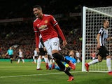 Chris Smalling celebrates scoring during the Premier League game between Manchester United and Newcastle United on November 18, 2017