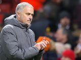 Jose Mourinho applauds during the Premier League game between Manchester United and Newcastle United on November 18, 2017