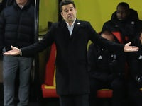 Marco Silva watches on during the Premier League game between Watford and West Ham United on November 19, 2017