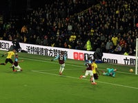 Richarlison scores the second during the Premier League game between Watford and West Ham United on November 19, 2017