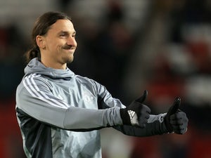 Zlatan Ibrahimovic gives the thumbs-up ahead of the Premier League game between Manchester United and Newcastle United on November 18, 2017