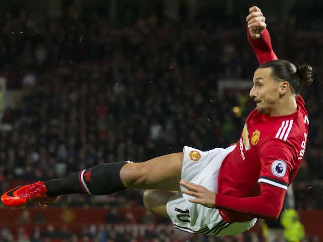Zlatan Ibrahimovic takes a shot during the Premier League game between Manchester United and Newcastle United on November 18, 2017
