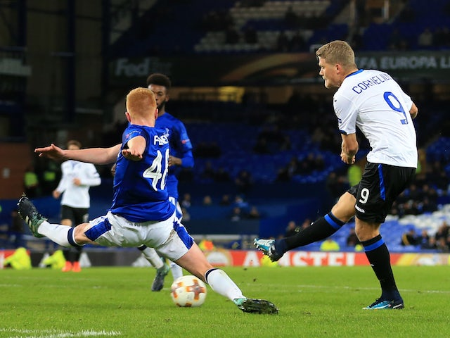 Andreas Cornelius scores his side's fourth during the Europa League group game between Everton and Atalanta on November 23, 2017