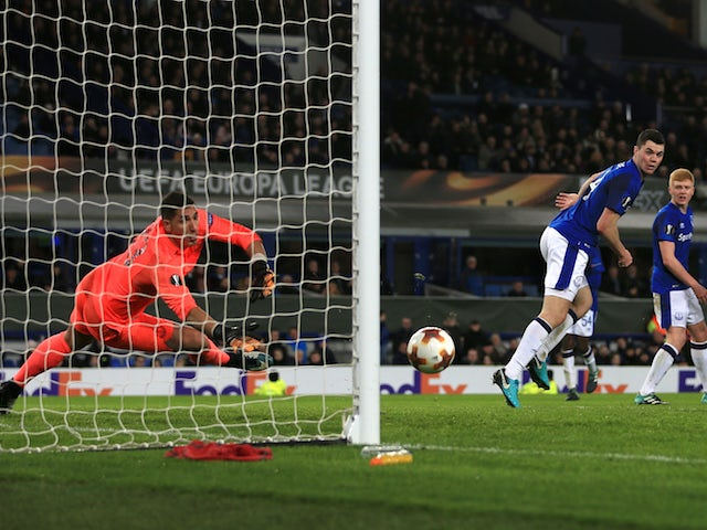 The visitors score their third during the Europa League group game between Everton and Atalanta on November 23, 2017
