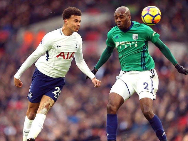 Dele Alli and Allan Nyom in action during the Premier League game between Tottenham Hotspur and West Bromwich Albion on November 25, 2017