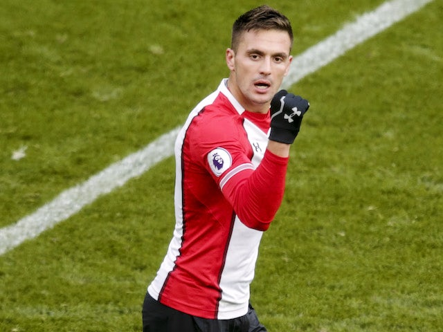 Dusan Tadic celebrates opening the scoring during the Premier League game between Southampton and Everton on November 26, 2017