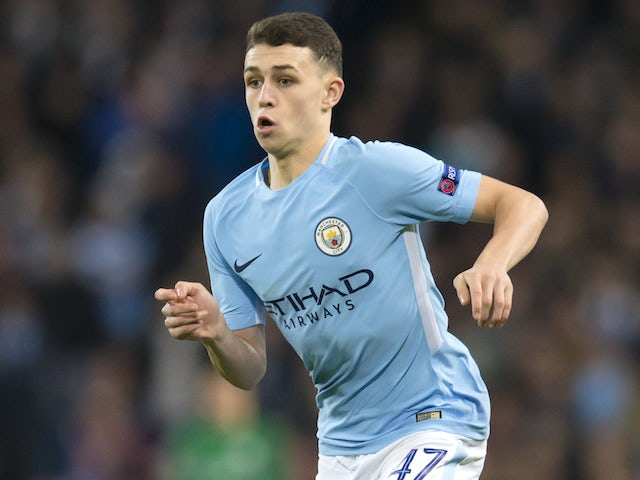 Phil Foden in action during the Champions League game between Manchester City and Feyenoord on November 21, 2017