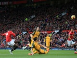 Romelu Lukaku shoots over the bar during the Premier League game between Manchester United and Brighton & Hove Albion on November 25, 2017