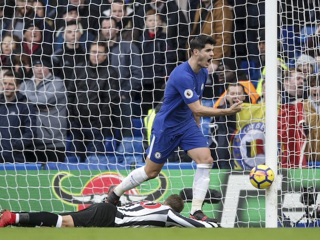 Alvaro Morata celebrates getting the Blues' second during the Premier League game between Chelsea and Newcastle United on December 2, 2017