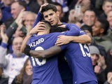 Alvaro Morata celebrates with teammates after scoring during the Premier League game between Chelsea and Newcastle United on December 2, 2017