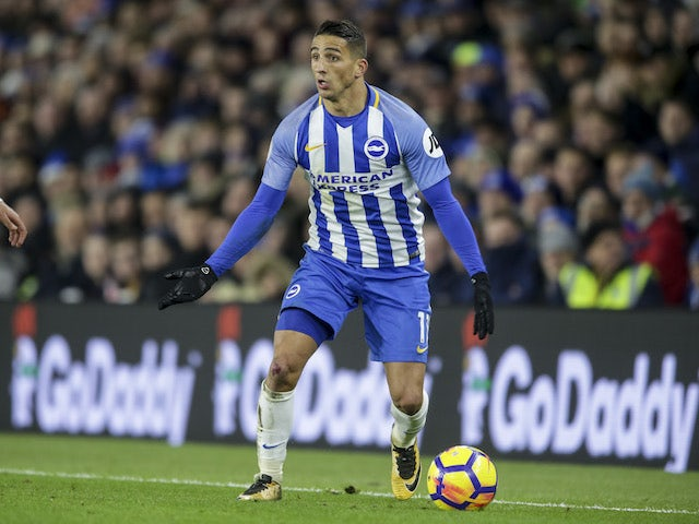 Brighton & Hove Albion midfielder Anthony Knockaert in action during his side's Premier League clash with Crystal Palace at the Amex Stadium on November 28, 2017