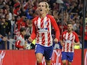Antoine Griezmann celebrates scoring for Atletico Madrid on September 17, 2017